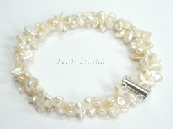 Princess 2-Row Ivory Keshi Pearl Bracelet 5-7mm