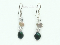 Princess Emerald Green Baroque Keshi Pearl Crystal Earrings