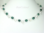 Princess Emerald Green Baroque Keshi Pearl Crystal Necklace with Toggle Clasp
