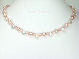 Princess Peach Oval & Keshi Pearl Crystal Necklace with Toggle Clasp