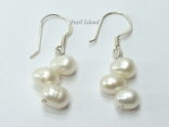 Elegance White Oval Pearl Earrings