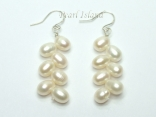 Bridal Pearls - Elegance White Oval Pearl Earrings with 7 pearls