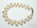 Bridal Pearls - Elegance White Oval Pearl Bracelet 6-7mm