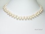 Elegance White Oval Pearl Necklace 6-7mm