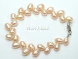 Elegance Peach Oval Pearl Bracelet 6-7mm