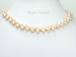 Elegance Peach Oval Pearl Necklace 6-7mm
