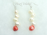 Bridal Pearls - Elegance Red White Pearl Earrings