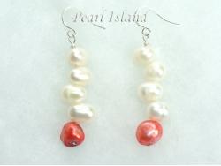 Elegance Red White Pearl Earrings