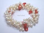 Elegance 3-Row RW Pearl Bracelet