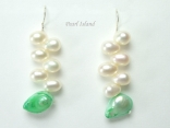 Elegance Green & White Pearl Earrings