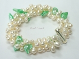 Elegance 3-Row Green & White Pearl Bracelet