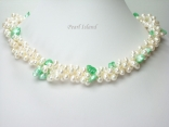 Elegance 3-Row Green & White Pearl Necklace