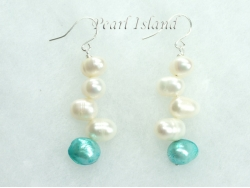 Elegance Light Turquoise & White Pearl Earrings