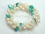 Elegance 3-Row Light Turquoise & White Pearl Bracelet