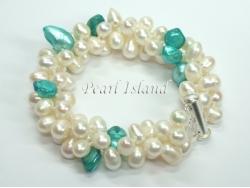 Elegance 3-Row Light Turquoise & White Pearl Bracelet
