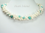 Elegance 3-Row Light Turquoise & White Pearl Necklace