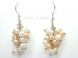Elegance Peach & White Pearl Cluster Earrings