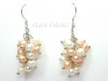 Bridal Pearls - Elegance Peach & White Pearl Cluster Earrings