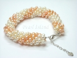 Elegance Peach & White Spiral Pearl Bracelet