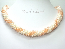 Bridal Pearls - Elegance Peach & White Spiral Pearl Necklace