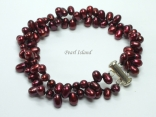 Stylish 2-Row Wine Oval Pearl Bracelet