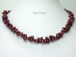 Stylish 2-Row Wine Oval Pearl Necklace
