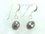 Stylish Gun-Metal Grey Oval Pearl Earrings