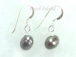 Stylish Gun-Metal Grey Oval Pearl Earrings