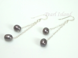 Stylish Gun-Metal Grey Oval Pearl Long Earrings