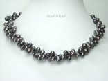 Stylish 2 Strand Gun-Metal Grey Oval Pearl Necklace