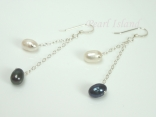 Stylish White Black Oval Pearl Long Earrings 6x7mm