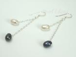 Stylish White Black Oval Pearl Long Earrings 6x7mm