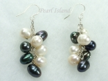 Stylish Black White Oval Pearl Cluster Earrings 6x7mm