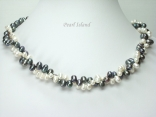Stylish 2-Row Black & White Oval Pearl Necklace 5x7mm