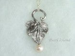 Stylish Silver Leaf & White Pearl Pendant