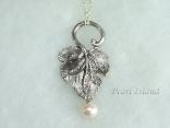 Stylish Silver Leaf & White Pearl Pendant