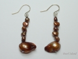 Chic 5 Baroque Pearl & 1 Blister Pearl Brown Earrings