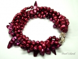 Chic 5-Row Baroque & 1-Row Blister Pearl Red Bracelet