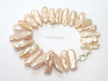 Dragon Tooth Pink Biwa Pearl Bracelet 18-22mm
