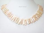 Dragon Tooth Pink Biwa Pearl Necklace 20-22mm with T-Bar clasp