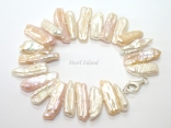 Dragon Tooth Pink & White Big Biwa Pearl Bracelet 18-26mm