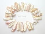 Dragon Tooth Pink & White Big Biwa Pearl Bracelet 18-26mm