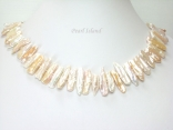 Dragon Tooth Pink & White Big Biwa Pearl Necklace 20-22mm with T-Bar clasp