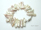 Dragon Tooth Big Pink & White Biwa Pearl Bracelet 22-23mm