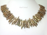 Dragon Tooth Greenish Brown Biwa Pearl Necklace 17-32mm with T Bar clasp