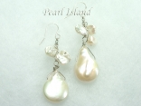 Art Deco White Coin & Keishi Pearl Earrings Style 1
