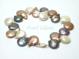 Art Deco Brown WB Coin Pearl Bracelet 12-20mm