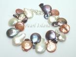 Art Deco Chocolate GW Coin Pearl Bracelet 12-20mm