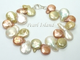 Art Deco Yellow WB Coin Pearl Bracelet