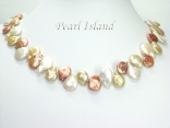 Art Deco Yellow WB Coin Pearl Necklace